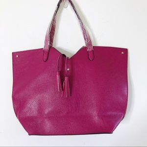 Neiman Marcus Tote Bag Faux Leather Berry Pink